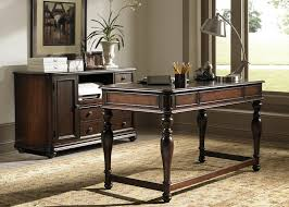 writing desk with three drawers in cognac finish by liberty
