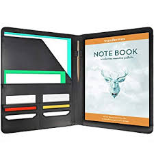 Amazon Com Wundermax Padfolio Portfolio Leather Folder Business