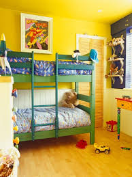 Shared Kids Bedroom Vibrant Yellow Shared Kids Bedroom With Green Bunk Bed Dweefcom