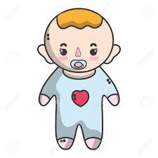 おしゃぶりと髪型と男の赤ちゃんのイラスト素材ベクタ Image 80973730