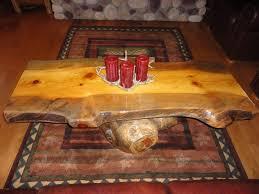 custom made rustic log coffee table