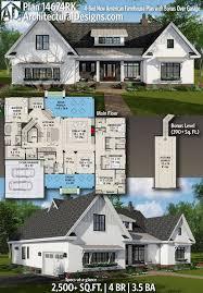 American House Model Design Plan 14674rk 4 Bed New American Farmhouse Plan With Bonus