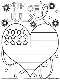 Small Picture 4th of July Heart Flag Coloring Page Worksheets Flags and Free