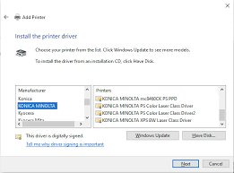 Download the latest drivers, manuals and software for your konica minolta device. Not All Printer Drivers From Windows Update Appear In Add Printer Wizard Windows Client Microsoft Docs