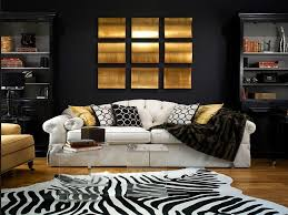 View in gallery Zebra rug, black backdrop along with gold accents for the  living room