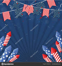 Vector Template Frags Ribbons Rockets Fourth July Independence Day