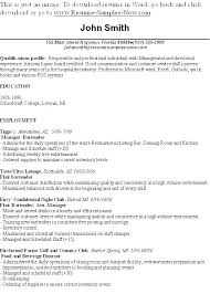 Bartender Resume Objective Resume Directory