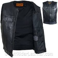 mens leather vest motorcycle club with zipper no collar jacket nz mens leather vest