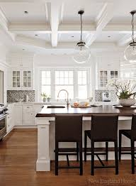 Hanging Glass Globe Pendants Above The Island Keep The Space Fully  Transparent.New England Home DREAM KITCHEN***