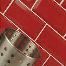 Red Wall Kitchen A Pillar Box Red Metro Wall Tiles They Can Be Mixed With Other