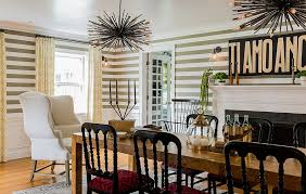 view in gallery fun dining room design with striped wallpaper design hudson interior design