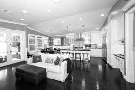 amusing dark wood floor kitchen ideas with modern open grey kitchens as well as white couch and upholstery table as inspiring modern open floor plan ideas