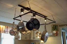 pretty kitchen pot rack with lights e with rectangle shape