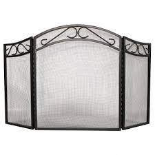 3 fold wrought iron scroll fireplace screen black