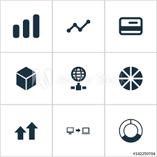 Pie Chart Synonym Vector Illustration Set Of Simple Analysis Icons Elements