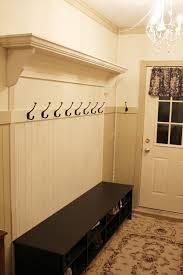 Front Door Coat Rack Artistic Entryway Coat Rack with Shoe Storage Above Vintage Floral 76