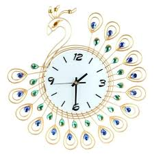 wall clock art deco luxury vintage art wall clocks metal peacock silent dazzling for luxury clock wall clock art deco