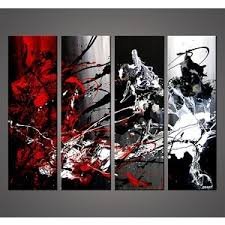 black gray red wall art