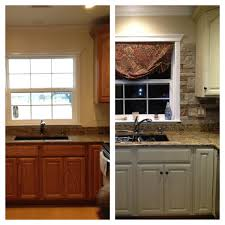 paint kitchen cabinets before and afterEbony Wood Chestnut Glass Panel Door Chalk Paint Kitchen Cabinets