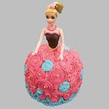 Dashing Barbie Cake Chocolate 2kg Eggless Gift Barbie Doll Design