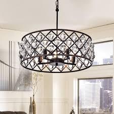 azha small 3 light crystal drum pendant chandelier oil rubbed bronze