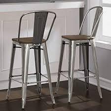 gunmetal bar stool.  Stool Tabouret Bistro Wood Seat Gunmetal Finish Bar Stools Set Of 2 30 Inches  High On Stool B