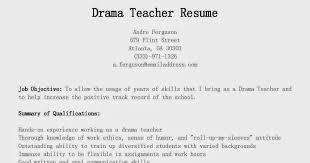Drama Teacher Resumes Resume Samples Drama Teacher Resume Sample