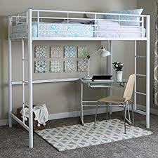 metal bunk bed. Walker Edison Twin Metal Loft Bed, White Bunk Bed C