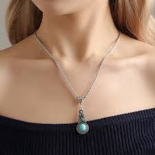vintage fashion turquoise pendant necklace party jewelry