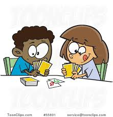 playing cartoon cartoon black boy and white girl playing a go fish card game 55801