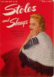 stoles and shrugs hairpin lace crocheted and knitted star stole book no 103 publisher the american thread co copyright 15 pages in very good vine