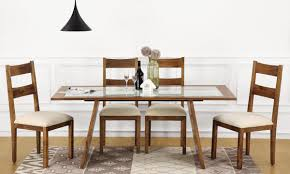 larne 6 seater dining table glass top in india livspace com
