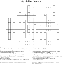 Mendelian Genetics Chart Mendelian Genetics Crossword Wordmint