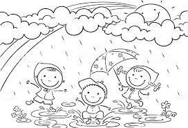 Bambini Che Giocano Sotto La Pioggia Immagini Vettoriali Stock E