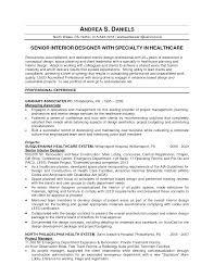 Assistant Interior Design Intern Resume Template Senior Format