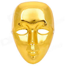 Decorative Face Masks PVC Decorative Face Mask for HipHop Bboy JabbaWo Golden 86