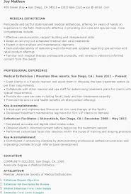 Resume Sample Resume For Esthetician Resume Templates Medical