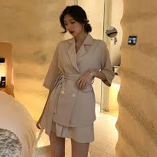 Summer <b>Women Cotton Short</b> Tracksuit Lace Up Jacket Blazer ...
