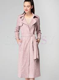 pink chic tie waist long trench coat