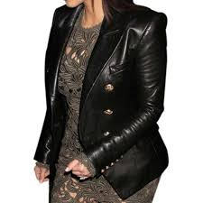 kim kardashian golden on black leather coat
