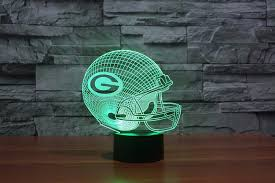 nfl green bay packers team logo 3d light led 3d football helmet visual lamp home decor