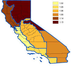 California Regions Map Of California Regions Showing Rrs For Excess Mortality