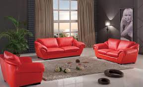 Modern Leather Living Room Furniture Sets 8080 Sofa In Red Leather By Esf W Optional Loveseat Chair