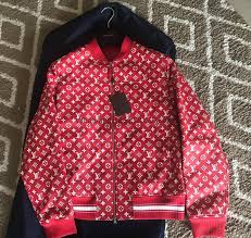 louis vuitton x supreme leather monogram logo blouson er varsity jacket men