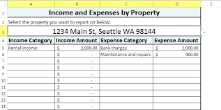 Income Property Spreadsheet Rental Income Statement Template Income