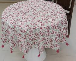 myyra multi round table cover fl design hand block printed cotton size round