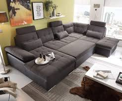 Delife Couch Jerrica Grau Schwarz 325x220 Cm Bettkasten