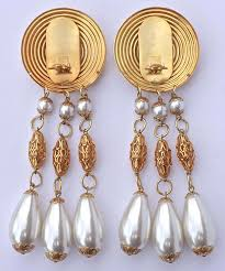 chandelier vintage earrings large gold tone faux pearl chandelier vintage clip on statement earrings in good chandelier vintage earrings