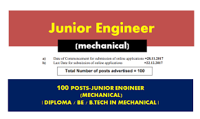 posts junior engineer mechanical diploma be btech in  100 posts junior engineer mechanical diploma be btech in mechanical