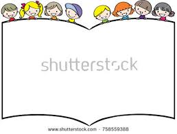 kids reading book blank border